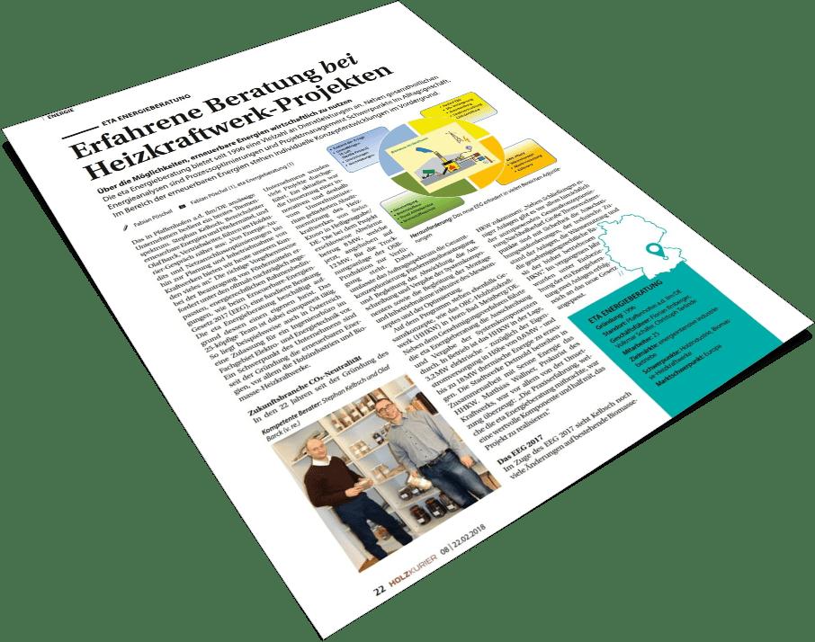 Deckblatt Holzkurier 2018 - eta Energieberatung